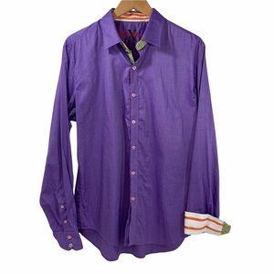 Robert Graham X Purple Cotton Men's Button-Up Shirt Flip Cuffs XL
